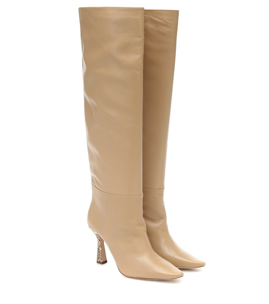 Wandler Lina knee-high leather boots in beige