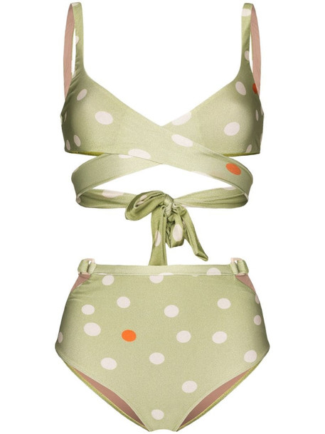 Adriana Degreas polka dot print bikini set in green