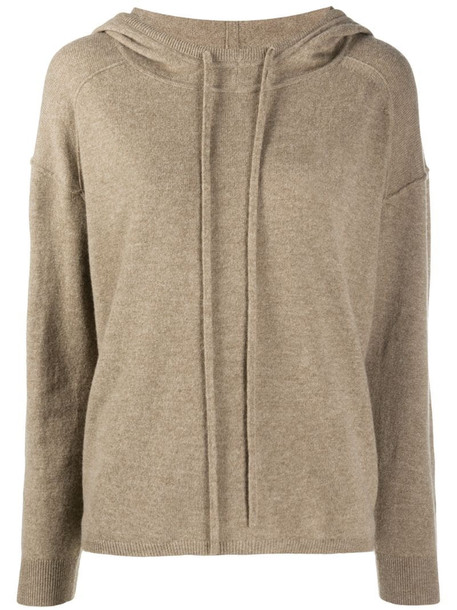 Luisa Cerano knitted drawstring hoodie in brown