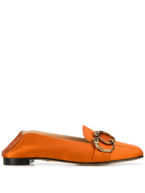 Charlotte Olympia collapsible heel satin loafers in orange