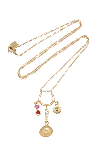 SCOSHA Ocean Treasure 10K Gold And Multi-Stone Necklace in pink