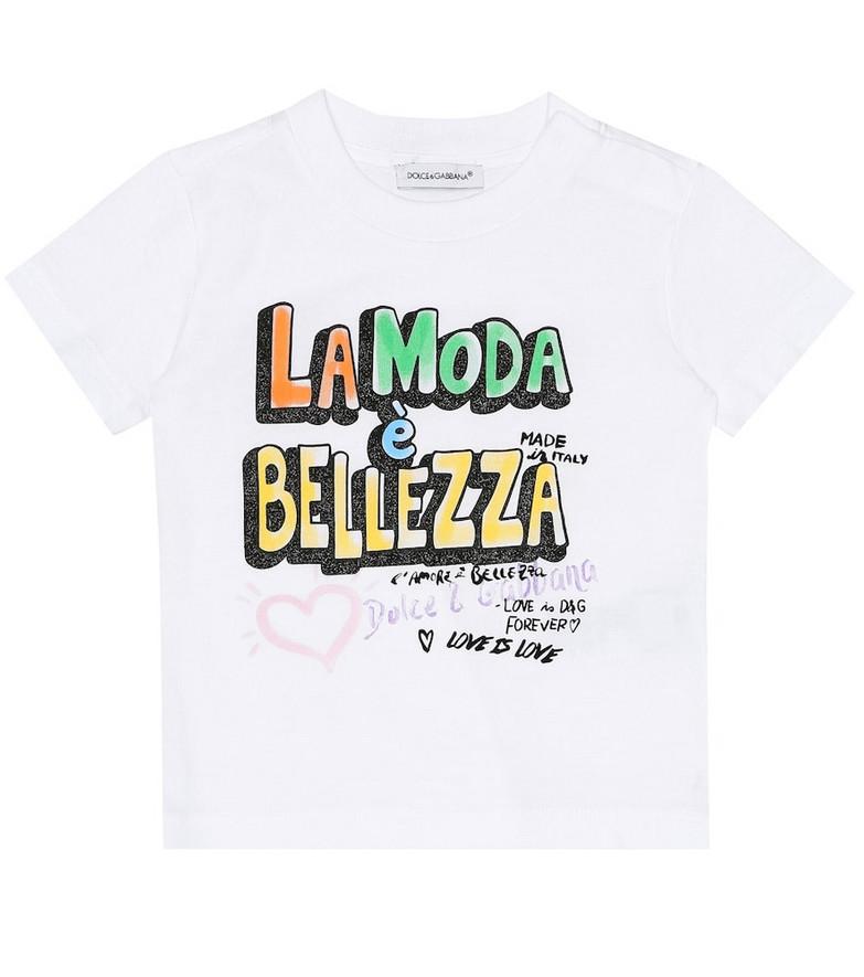 Dolce & Gabbana Kids Baby printed cotton T-shirt in white