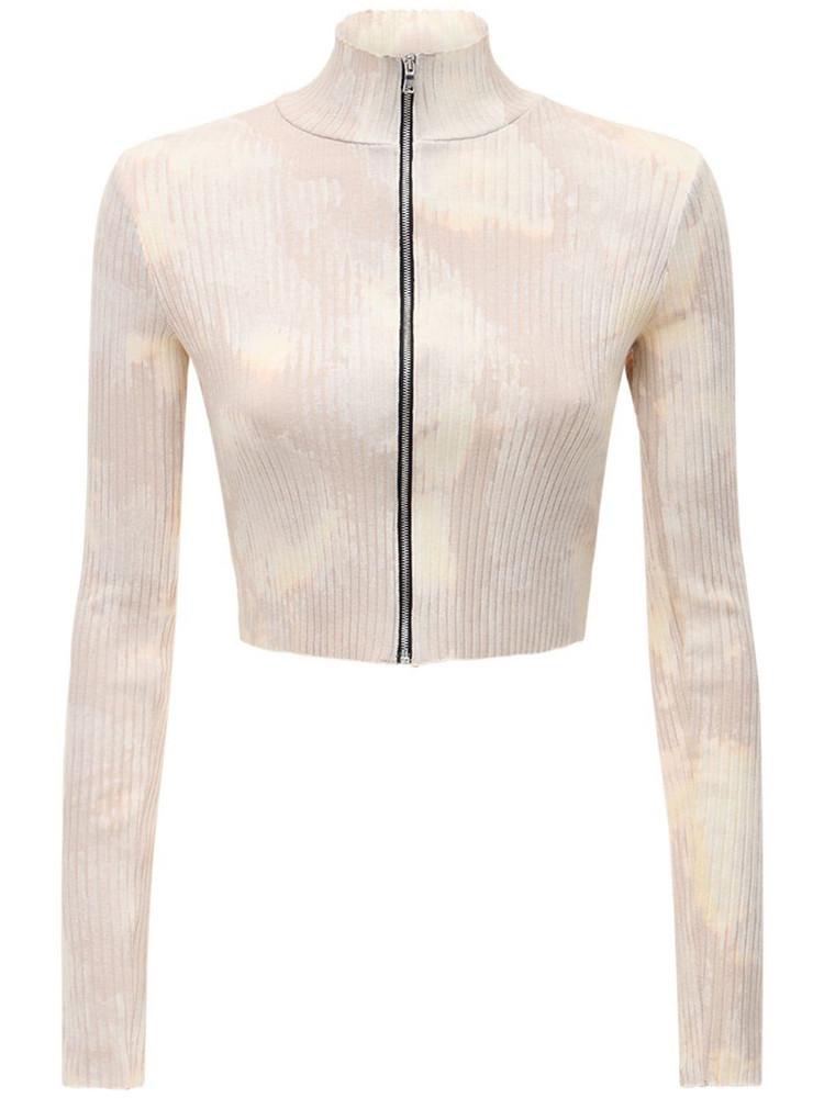 COTTON CITIZEN The Ibiza Knit Cotton Crop Zip Sweater in beige