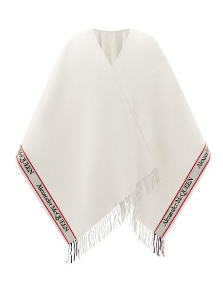 Alexander Mcqueen - Logo-jacquard Fringed Wool-blend Cape - Womens - White Multi