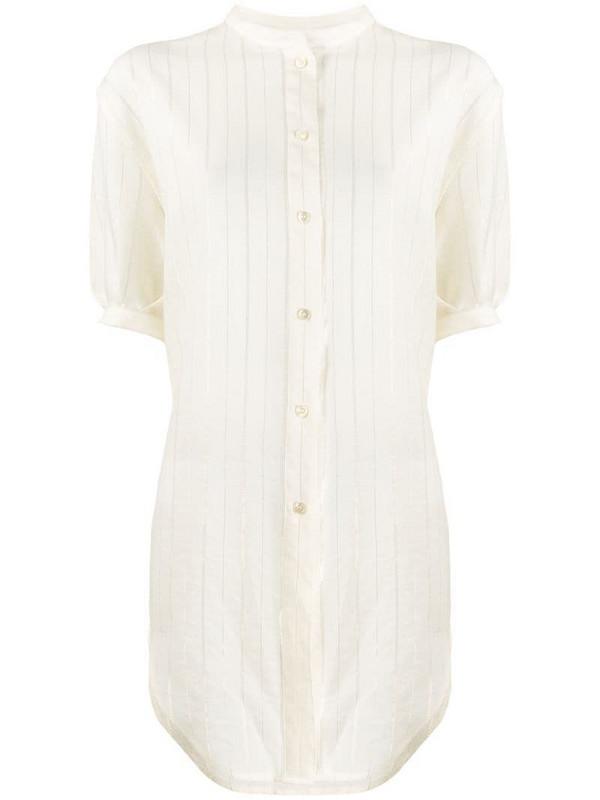 Saint Laurent metallic pinstriped buttoned blouse in neutrals