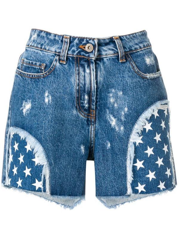 Faith Connexion star print denim shorts in blue