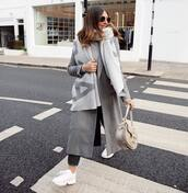 scarf,wool,grey coat,long coat,shoulder bag,white sneakers,black jeans,sweater,acne studios