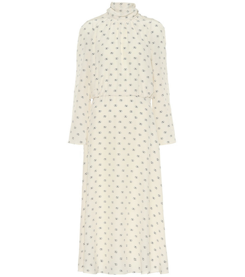 Valentino Mini VLOGO crêpe de chine dress in white
