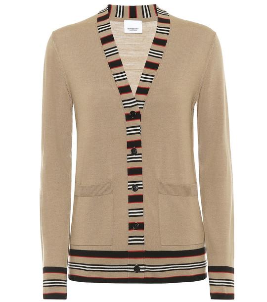 Burberry Icon Stripe merino wool cardigan in beige