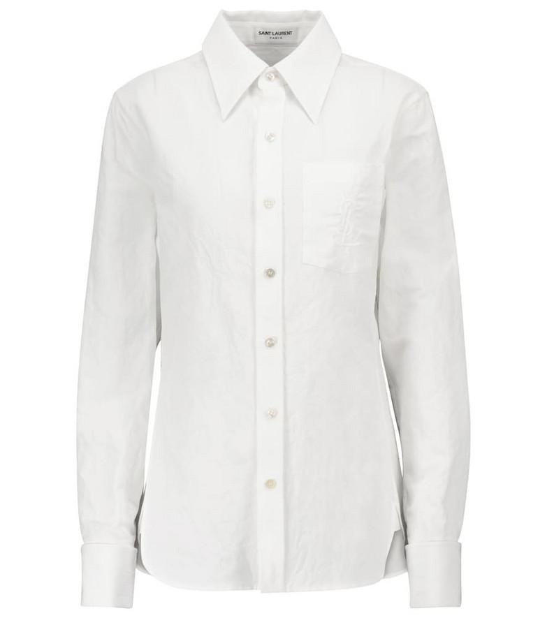 Saint Laurent Cotton and linen shirt in white