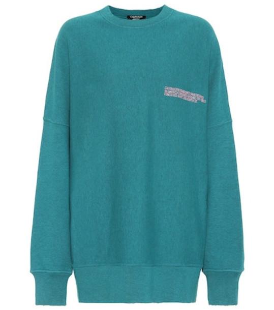 Calvin Klein 205W39NYC Embroidered cotton sweatshirt in green