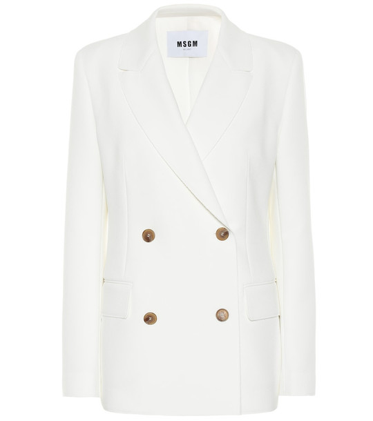 MSGM Double-breasted crêpe blazer in white