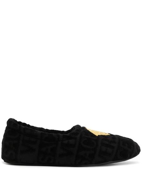 Versace Home monogram Medusa motif slippers in black