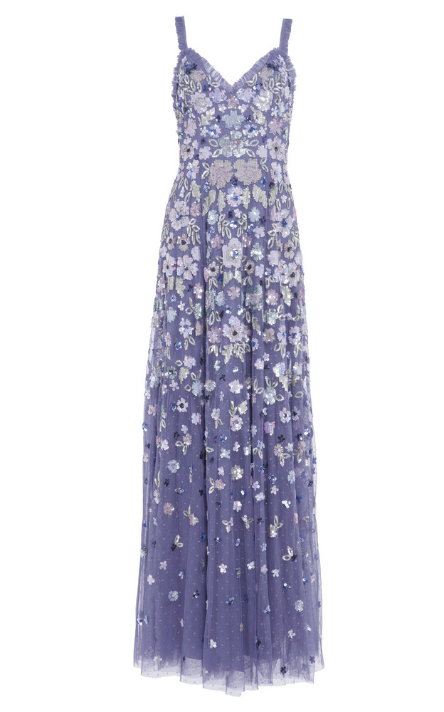 Needle & Thread Wildflower Sequin Gown in blue