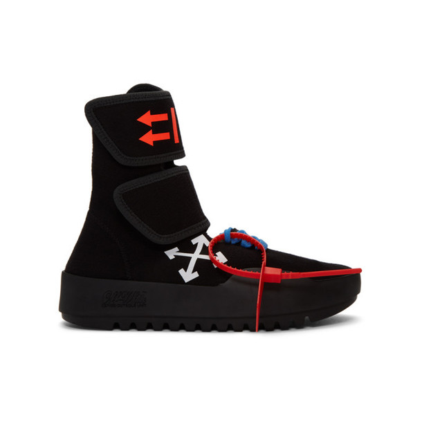Off White Black Moto Wrap High Top Sneakers