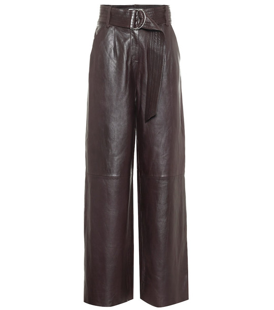 Stand Studio Jenna high-rise wide-leg leather pants in brown