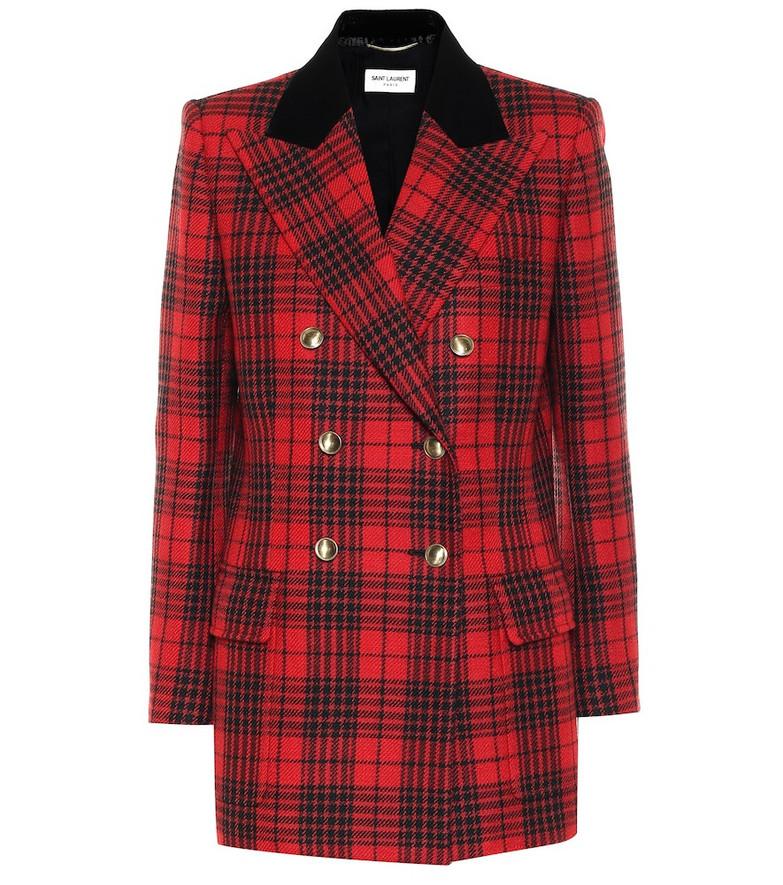 Saint Laurent Checked virgin wool blazer in red