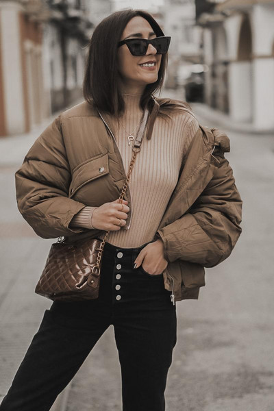 shoes and basics blogger sweater jeans bag shoes puffer jacket winter outfits crossbody bag nude top