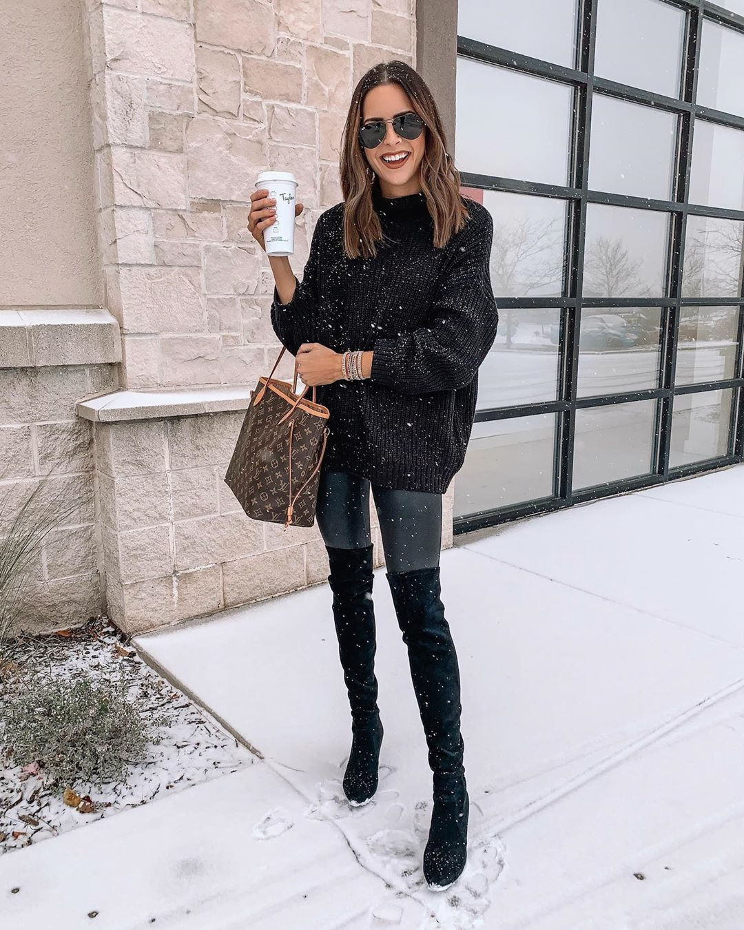 sweater black sweater black boots over the knee boots leggings louis vuitton bag