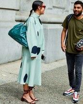 skirt,blue skirt,polka dots,sandal heels,turtleneck sweater,bag