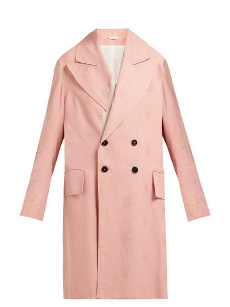 Ann Demeulemeester - Alexa Rose Jacquard Oversized Cotton Blend Coat - Womens - Pink