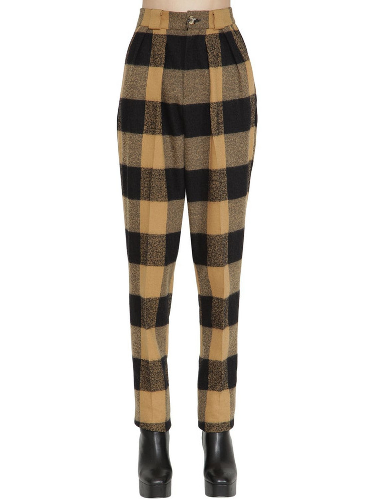 FAITH CONNEXION High Waist Wool & Cotton Pants in black / beige