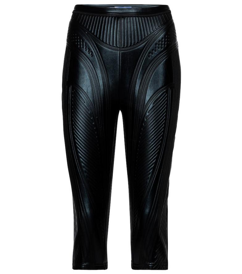 Mugler Embossed scuba biker shorts in black