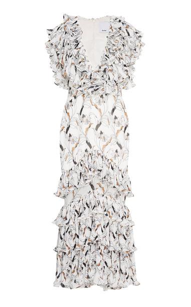 Acler Leeds Ruffled Floral-Print Chiffon Midi Dress Size: 8