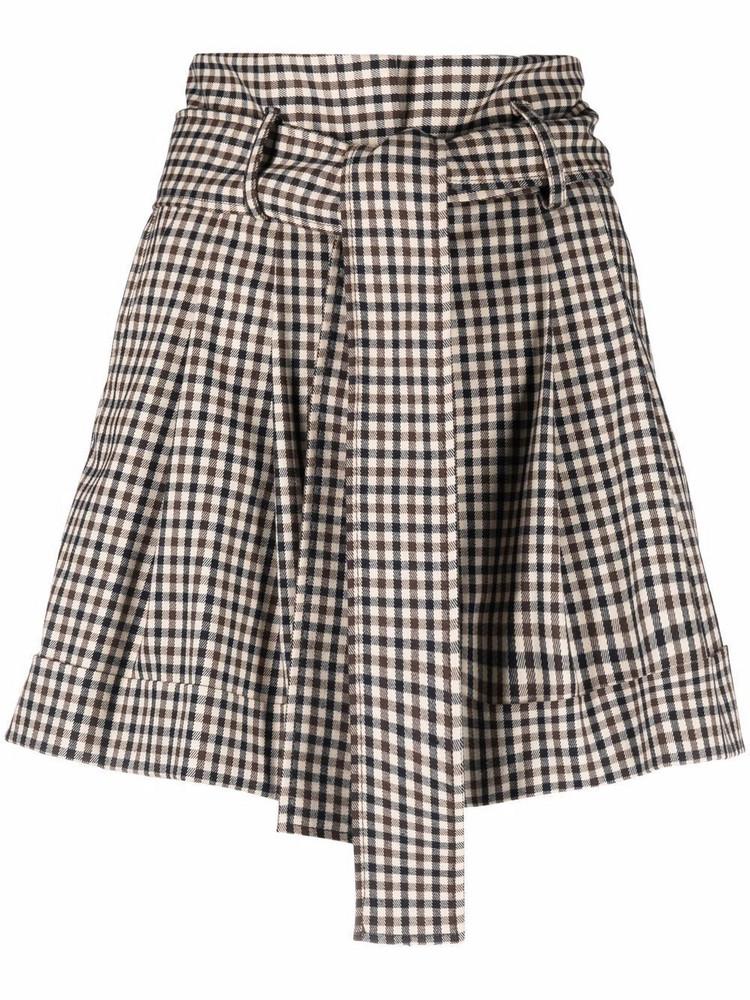 P.A.R.O.S.H. P.A.R.O.S.H. tied-waist check-print shorts - Neutrals