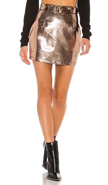 superdown Adelyn Mini Skirt in Metallic Copper