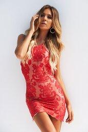dress,lace dress,red,delicate lace,halter neck,mini dress,cocktail dress