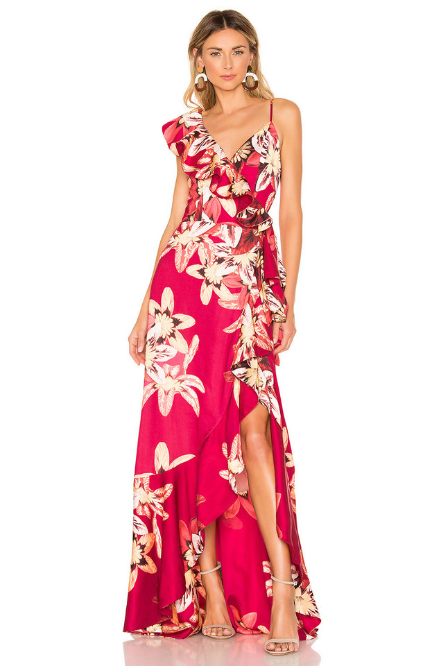 PatBo Floral Carmen Maxi Wrap Dress in pink