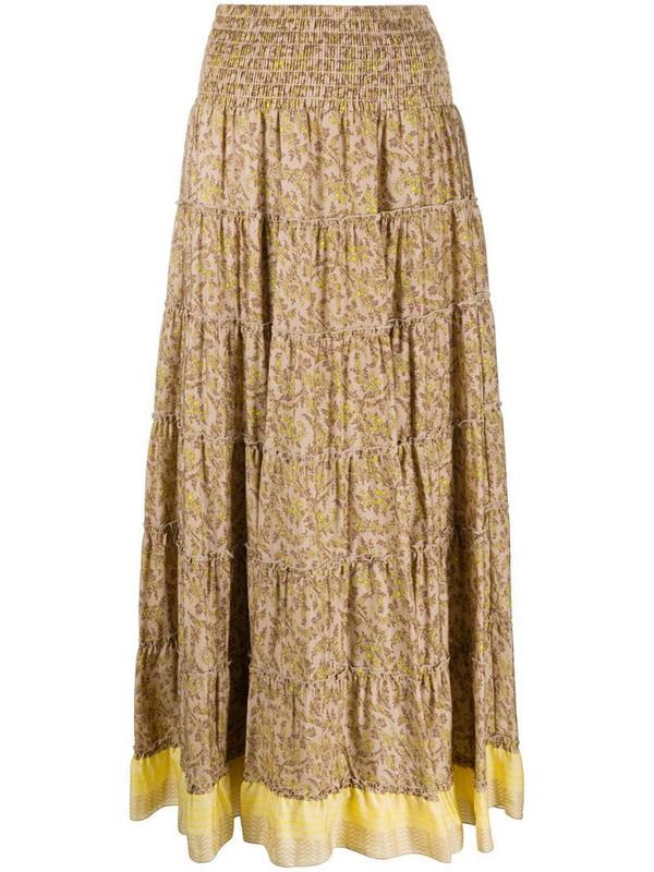 Steffen Schraut leaf print skirt in brown