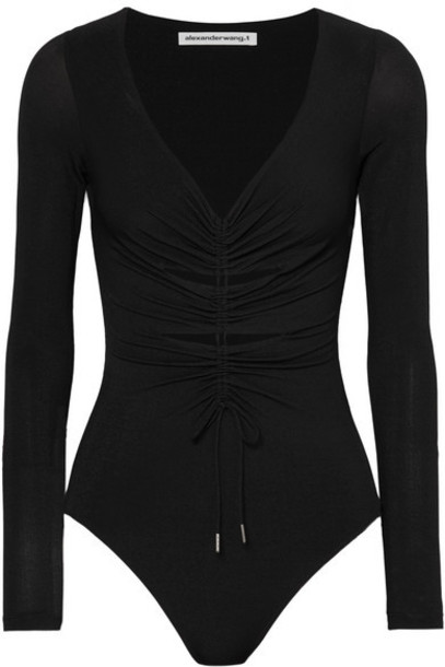 alexanderwang.t - Cut-out Ruched Stretch-jersey Thong Bodysuit - Black