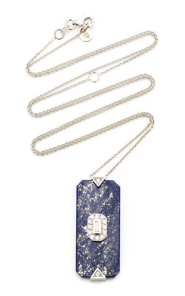 Melis Goral Deepsea 18K Gold Lapis And Diamond Necklace in white