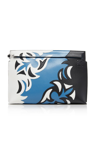 Loewe T-Pouch Paneled Leather Clutch in blue