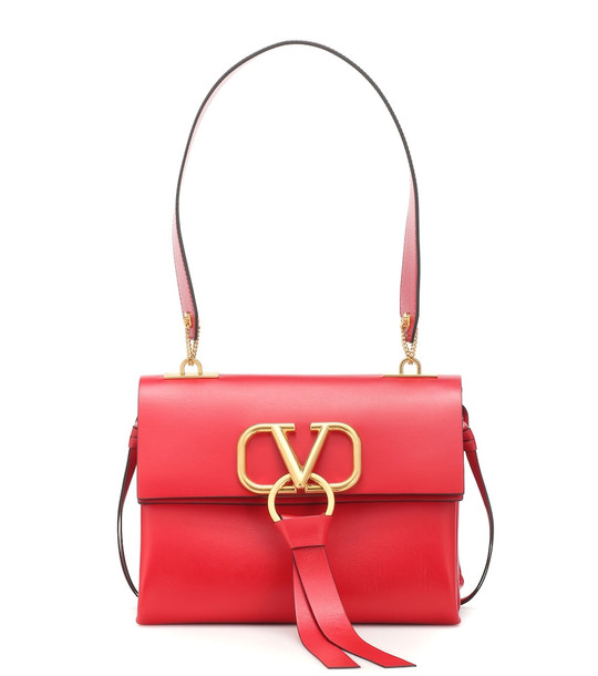 Valentino Garavani VRING Small leather shoulder bag in red