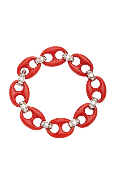 Eleuteri Vintage Ventrella 18K White Gold, Diamond and Coral Bracelet