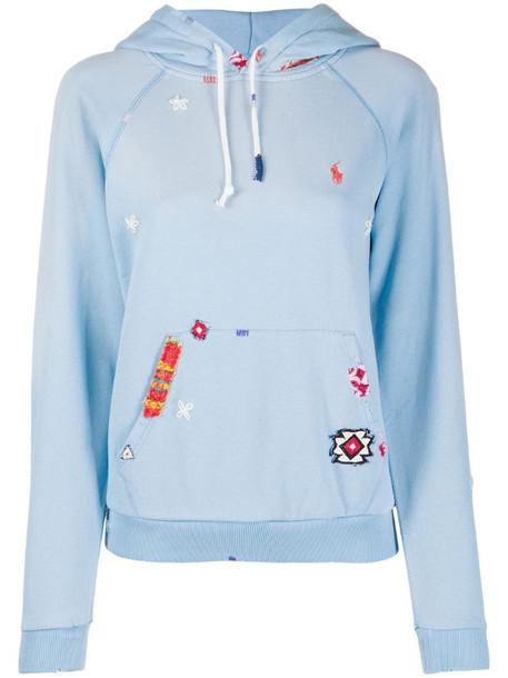 Polo Ralph Lauren long sleeve patchwork hoodie in blue