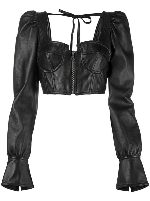 Manokhi draped-sleeve cropped leather top in black
