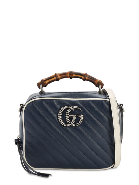GUCCI Gg Marmont Bamboo Shoulder Bag in blue / white