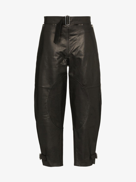 JW Anderson fold front belted utility trousers in black