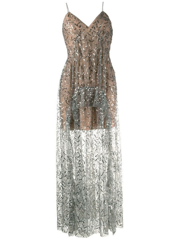 Self-Portrait sequin embroidered dress in grey