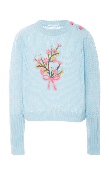 LoveShackFancy Rosie Floral Embroidered Sweater Size: S in blue