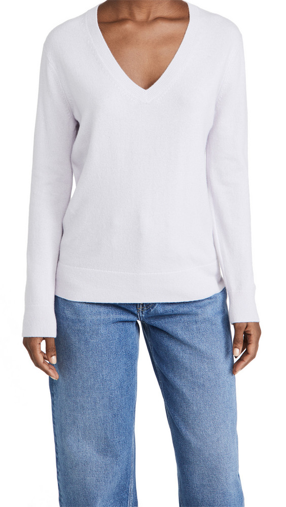 Vince Weekend V Neck Cashmere Sweater in lilac