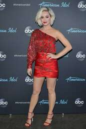 shoes,katy perry,celebrity,asymmetrical,asymmetrical dress,mini skirt,red dress,red
