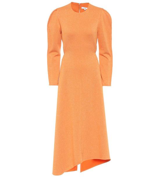 Tibi Asymmetric knit midi dress in orange