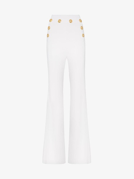 Balmain High waist button detail flared trousers in white