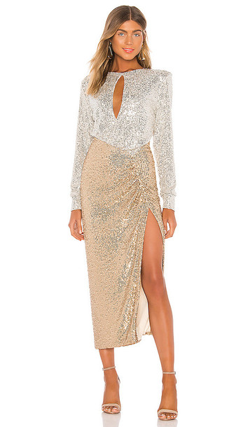 NONchalant Lena Sequin Maxi Dress in Metallic Gold