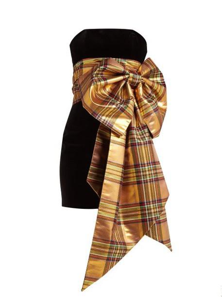 Alexandre Vauthier - Tartan Bow Trim Velvet Dress - Womens - Gold Multi